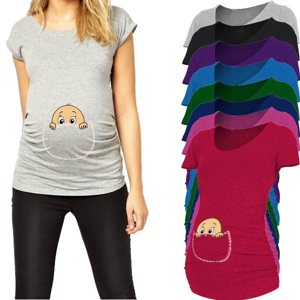 Pocket baby pee a boo print maternity shirt gravida top pregnancy clothing <font><b>cheap</b></font> Tees Casual plus size XXL Free shipping