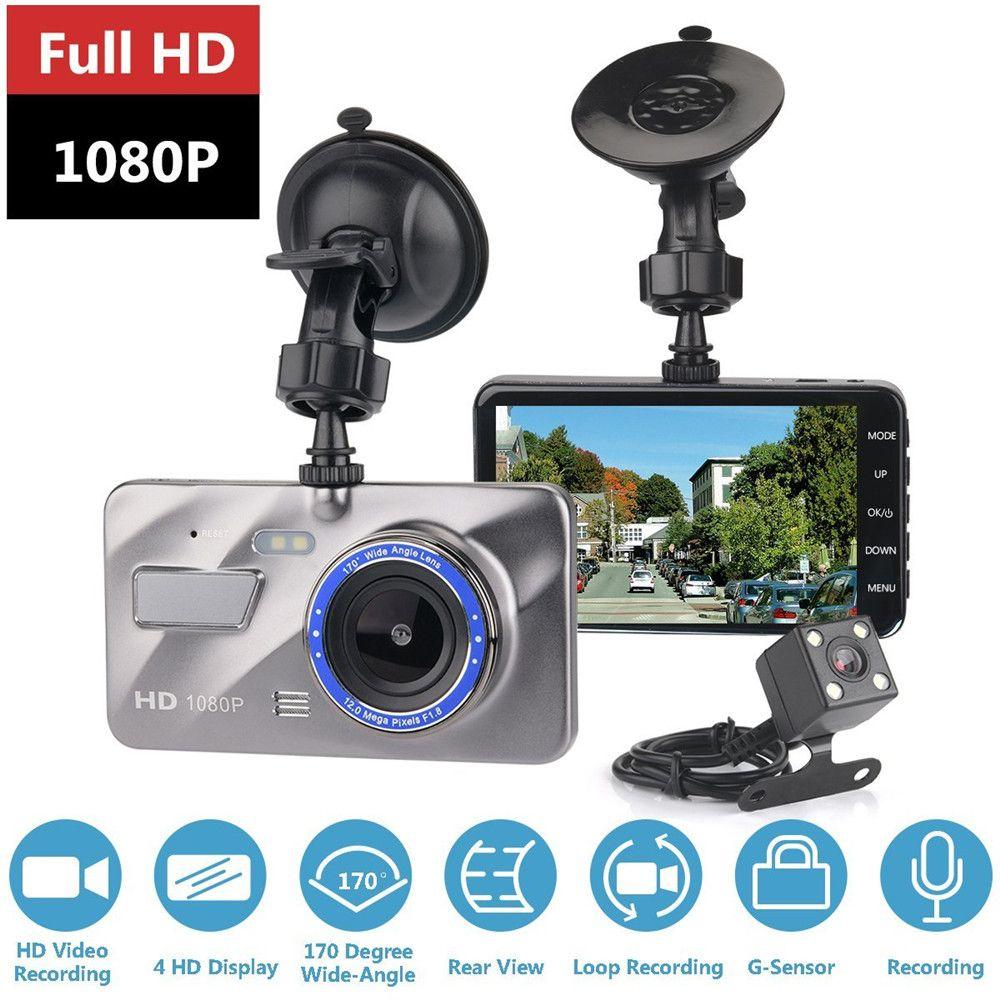 Dash Cam double lentille voiture DVR caméra Full HD 1080P 4 IPS avant + arrière Vision nocturne enregistreur vidéo moniteur de stationnement Auto