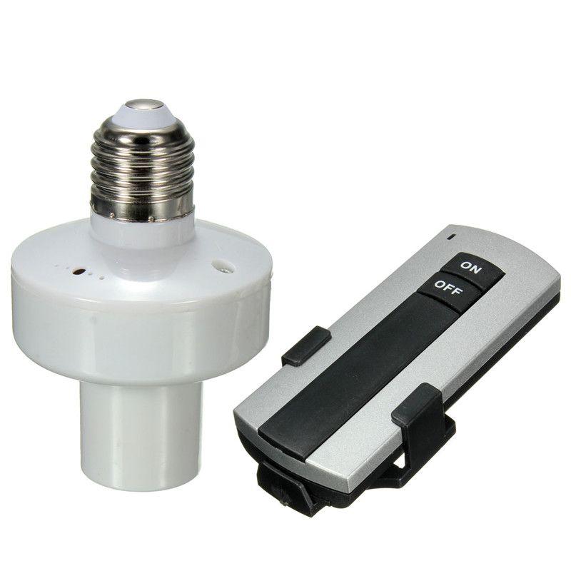 Venta al por mayor durable E27 tornillo Wireless Control remoto luz soporte de lámpara Cap socket interruptor nuevo en OFF