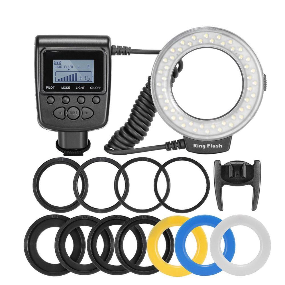 RF-550D 48 pièces Macro led flash annulaire Faisceau avec 8 bague d'adaptation pour Canon Nikon Pentax Olympus Panasonic DSLR flash d'appareil photo V HD130
