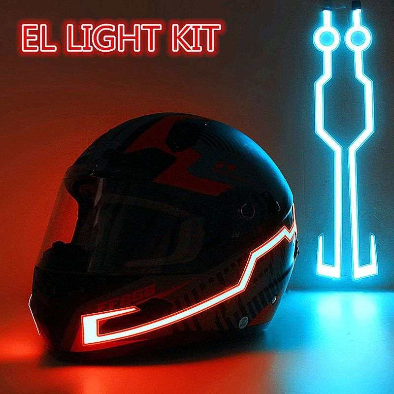 In Stock! Fast Shipping! Motorcycle Helmet EL Cold Light Helmet Light Strip Night Signal Luminous Modified Strip Helmet Sticker