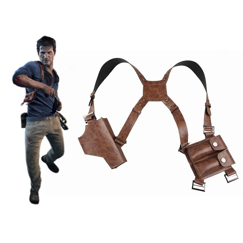 Nathan Drake Cosplay Shoulder Strap With Holster Uncharted 4 A Thief's End Cosplay Acceessories Halloween Costume Props Leather