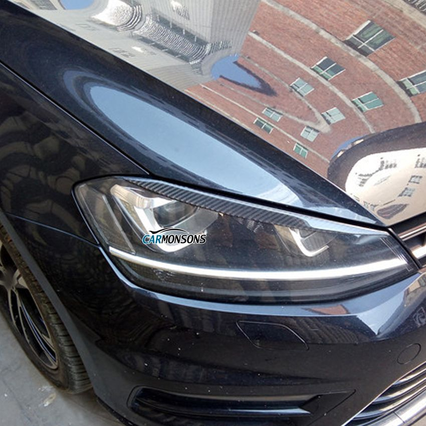 Carmonsons Headlights Eyebrow Eyelids ABS Carbon Fiber Sticker for Volkswagen VW Golf 7 MK7 Rline GTI R Accessories Car Styling