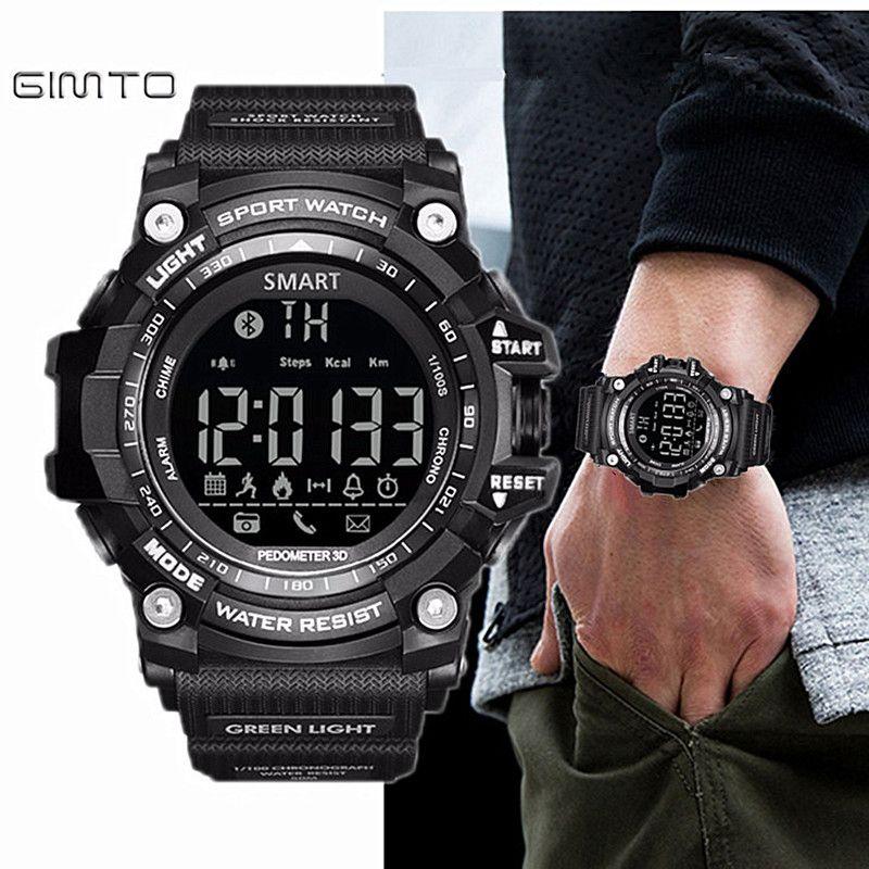 Gimto Brand LED Outdoor Electronic intelligent Wristwatch Waterproof Sport Digital Smart Watch Pedometer WristWatch Men