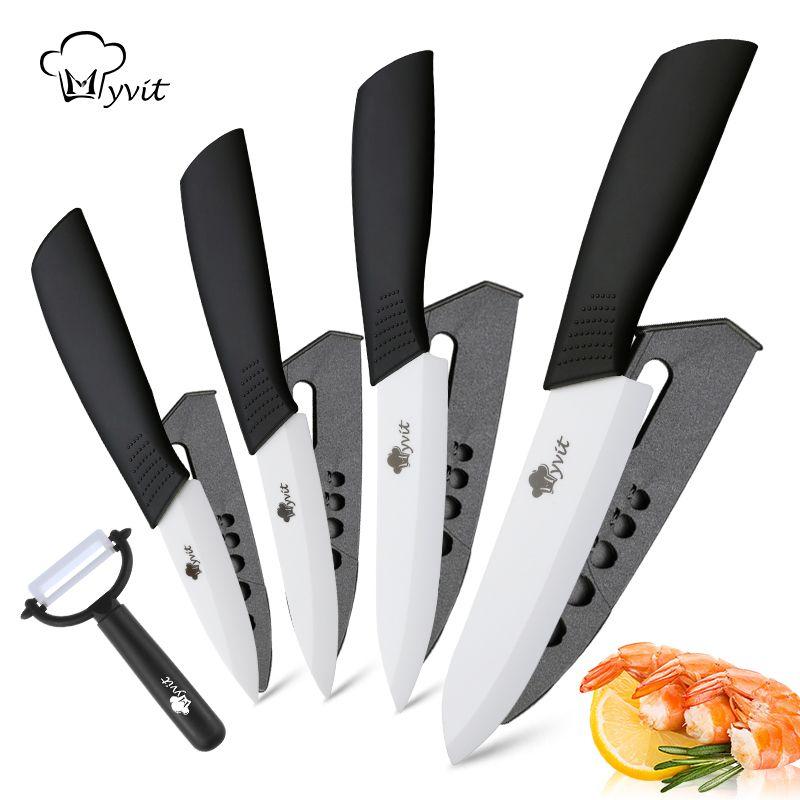 Couteau de cuisine en céramique Chef utilitaire Paring fruits légumes couteaux 3 4 5 6 inch + éplucheur zircone blanc céramique lame outil de cuisson