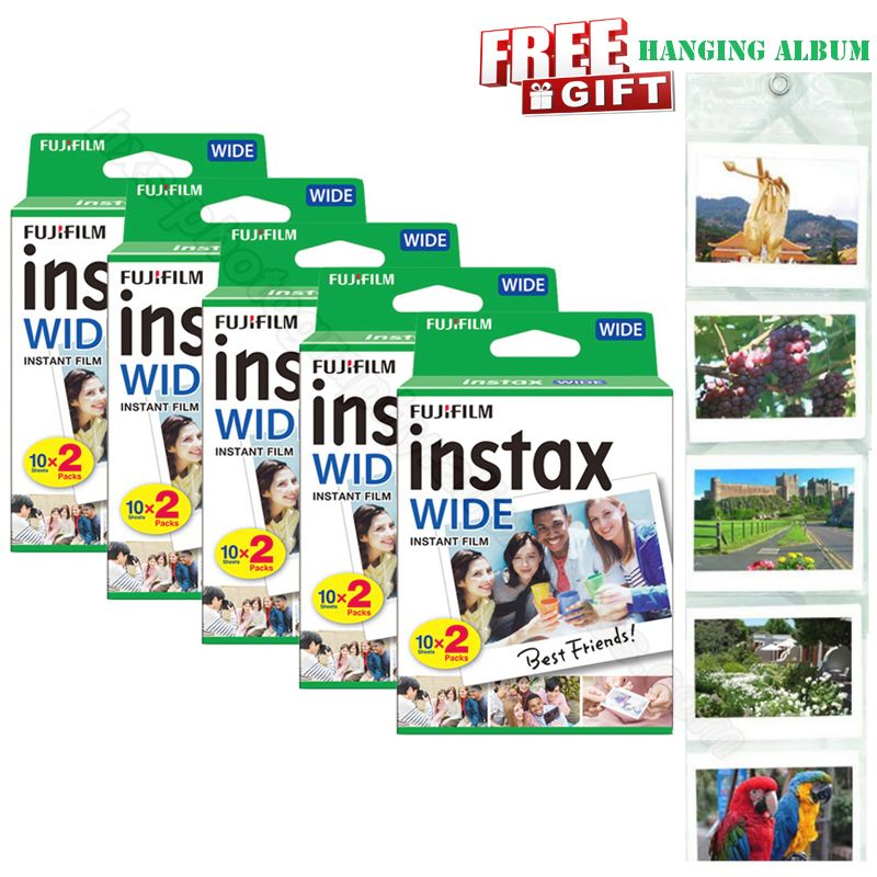 Genuine New Fujifilm Instax Wide Film White 100 Sheets for Instant Photo Paper Camera Instax Wide 200 210 300 with Album Gift