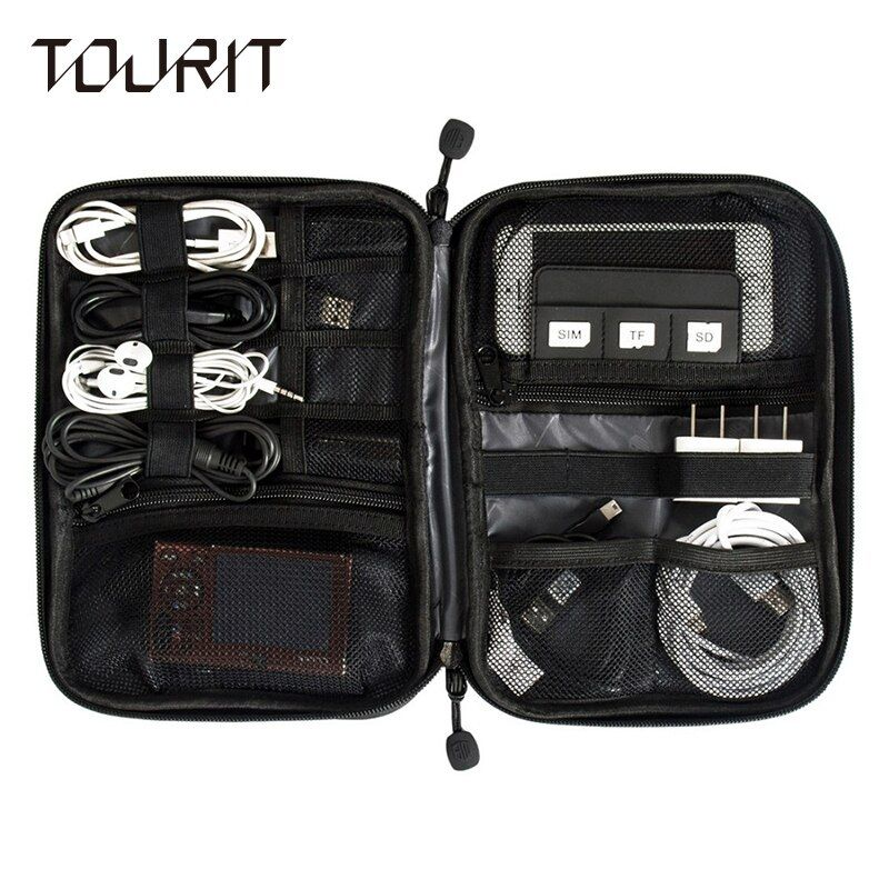 TOURIT New Electronic Accessories Travel Bag Nylon Mens Travel <font><b>Organizer</b></font> For Date Line SD Card USB Cable Digital Device Bag