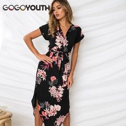 Gogoyouth Longue Bohème Femmes Robe D'été 2018 Vintage Plus La Taille Tunique Plage Robe Et Robe Noire Partie Robe Robe Femme