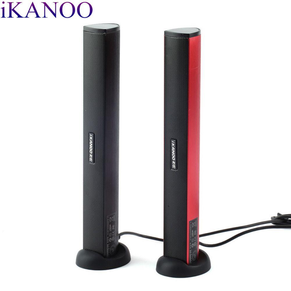 Ikanoo 3.5 мм USB Мощность портативных компьютеров PC Тетрадь аудио Динамик аудио стерео Усилители домашние Саундбар наушников с держателем
