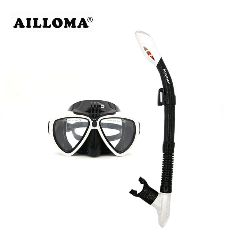 AILLOMA Camera Mask Snorkel Set Tube Diver <font><b>Glasses</b></font> Eyewear Silicone Waterproof Underwater Adult Diving Equipment Goggles sets