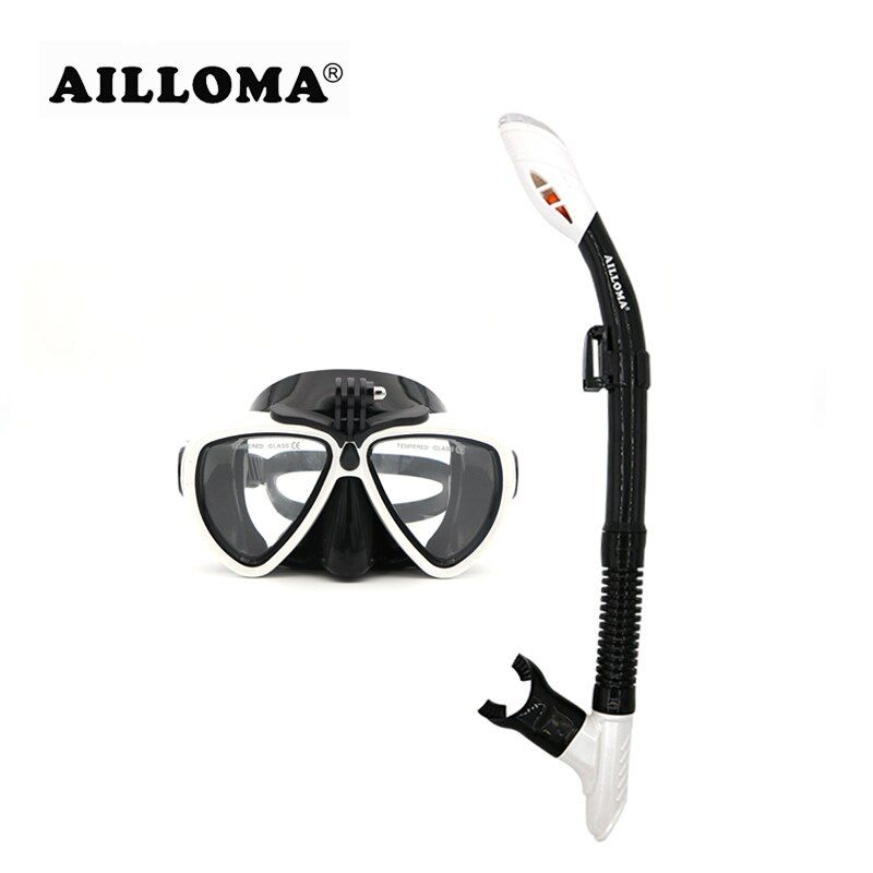 AILLOMA Camera Mask Snorkel Set <font><b>Tube</b></font> Diver Glasses Eyewear Silicone Waterproof Underwater Adult Diving Equipment Goggles sets