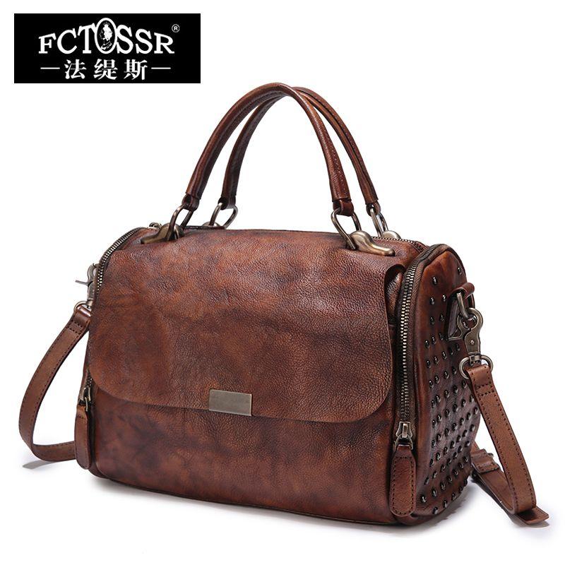 Dame Große Handtaschen Weiche Echtes Leder Schulter Sling Taschen Handmade Retro Messenger Bags Frauen Geldbörsen Top-Griff Handtasche