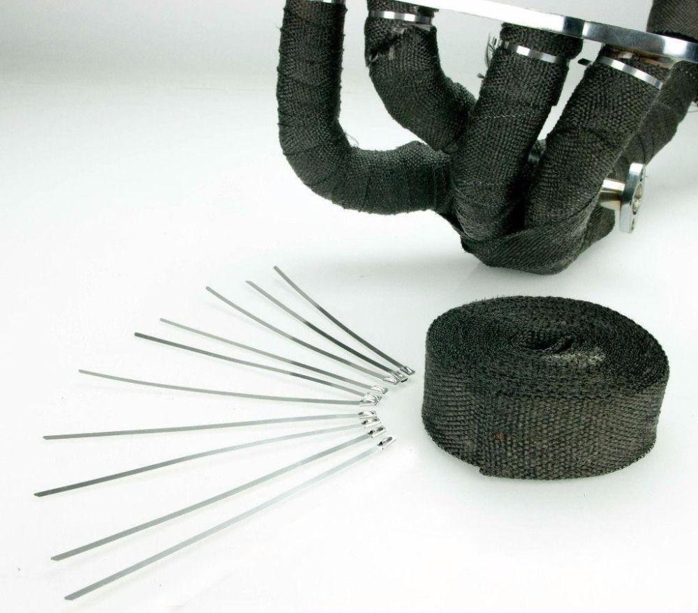 Vehemo Fiberglass Heat Exhaust Thermo Pipe Turbo Downpipe Wrap Shield Protection Tape 2