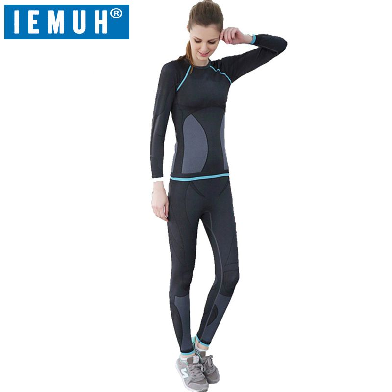 IEMUH Outdoor Sport Women Winter Spring Thermal Underwear Fitness Warm Thicken Fleece Hiking Ski Women Long Underwear Suit