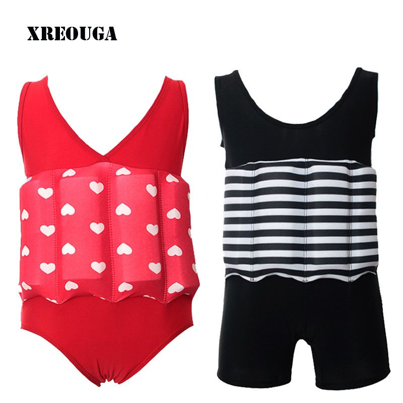 Floating Buoyancy Baby Boy/Girl Swimsuits Detachable Swimwear Siamese Swimming <font><b>Training</b></font> Kids Swimming Float Suits