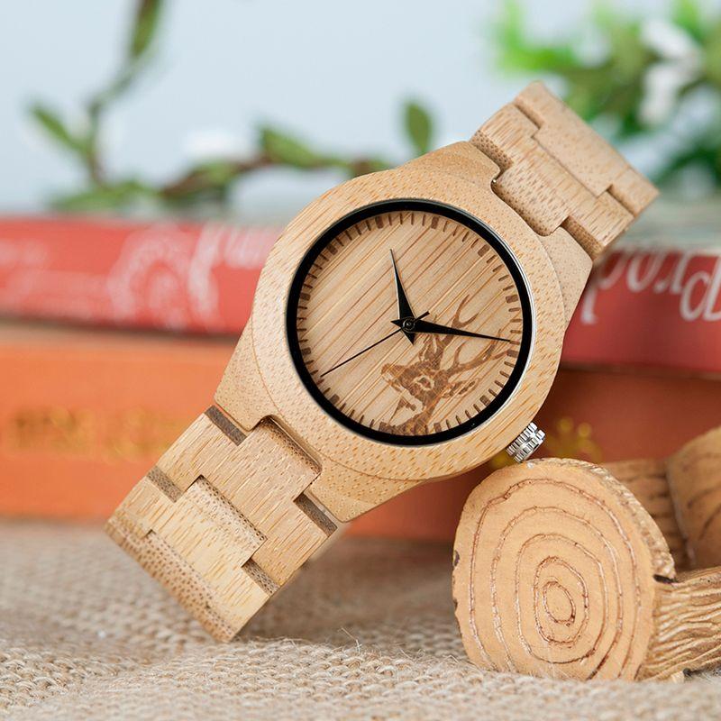 BOBO oiseau femmes montres Relogio Feminino Elk gravé visage bambou en bois montres de luxe marque à la main bois sangle C-dE04