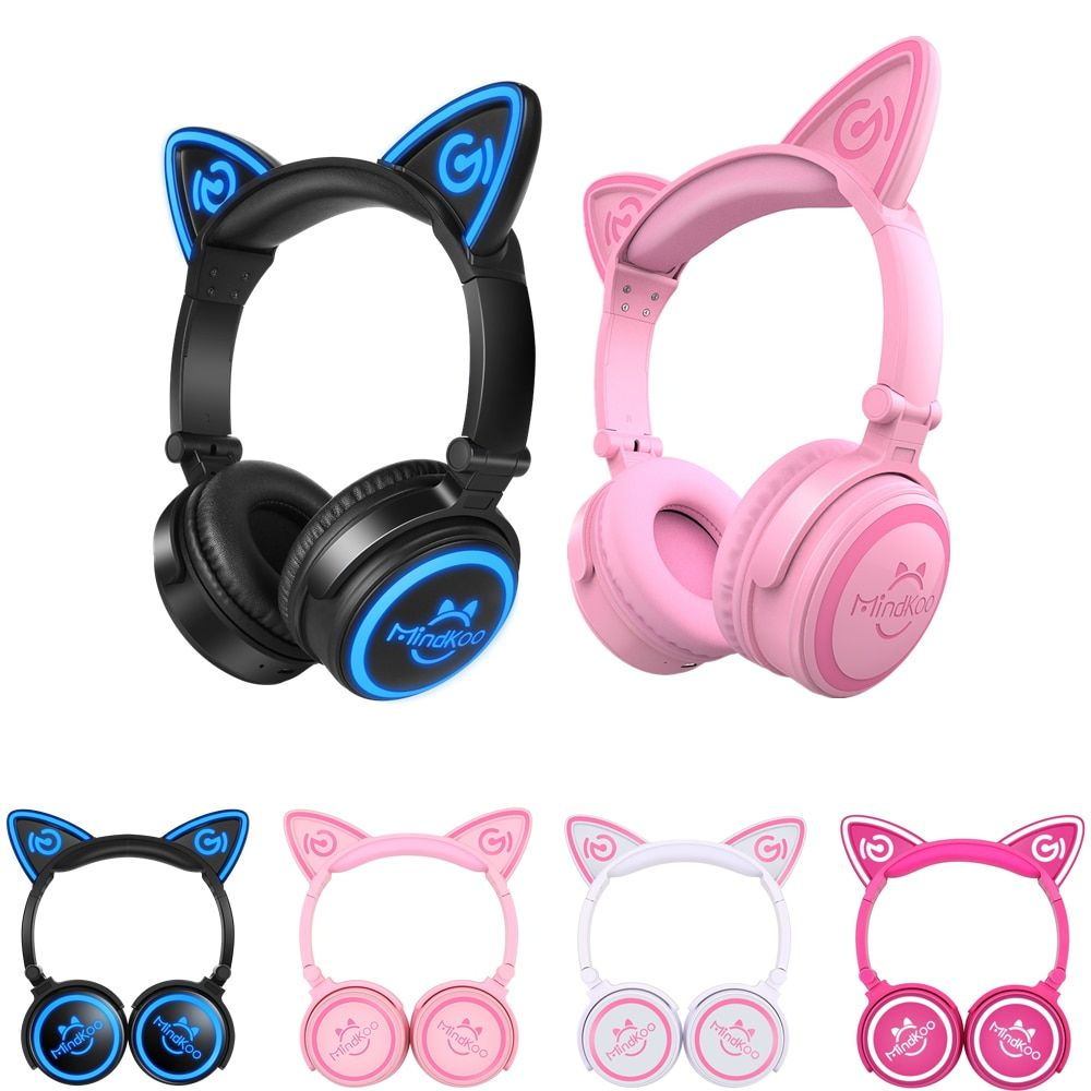 Mindkoo <font><b>Foldable</b></font> Flashing Glowing cat ear headphones Gaming Headset Earphone with LED light For PC Mobile Phone xiaomi iphone