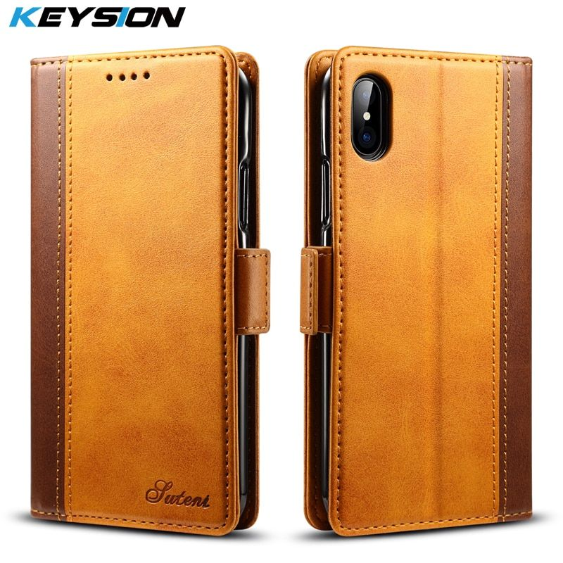 KEYSION Vintage Wallet Case for iPhone X TPU + PU Splice Leather Flip Cover for iPhone X Card Pocket Kickstand Case for iPhoneX