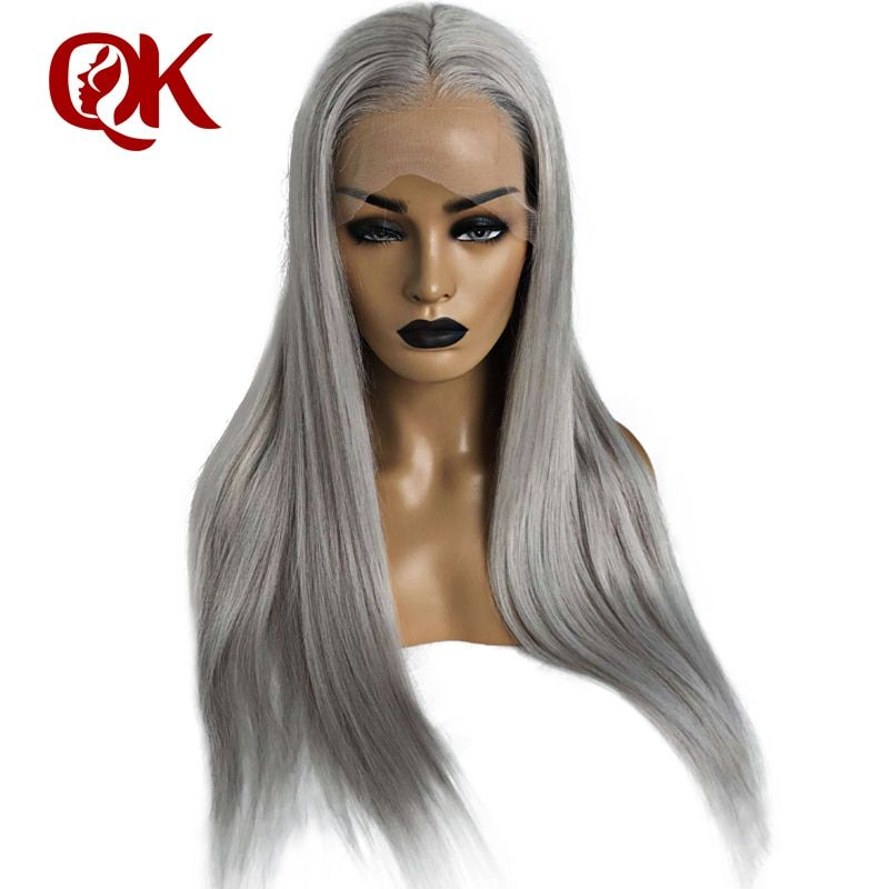 QueenKing haar Transparent Spitze Vorne Perücke 180% Dichte Asche Blonde Perücken Silber Grau Brasilianische Remy haar Freies Verschiffen Über Nacht