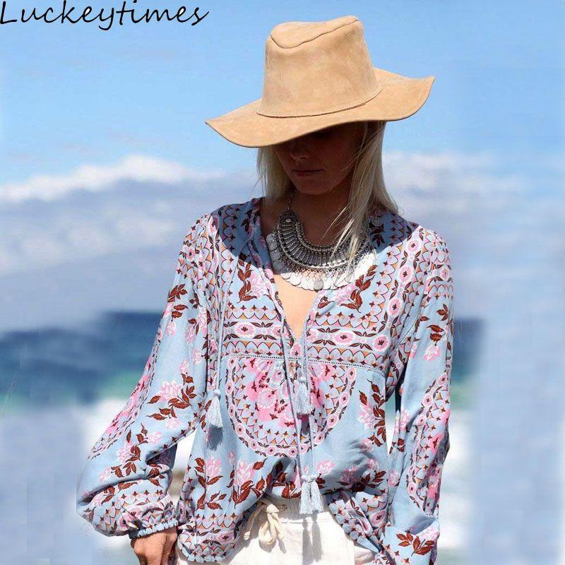 Luckeytime Цветочный принт Peasant Blouse v-образным вырезом кисточкой сексуальные Фонари рукавом Для женщин рубашка Топы корректирующие Элегантный ...