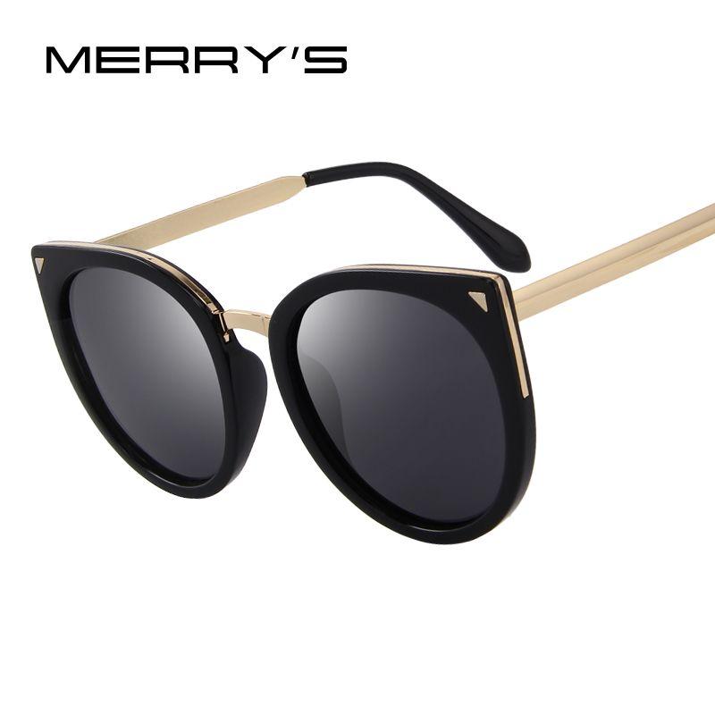 MERRY'S Women Cat Eye Polarized Sunglasses Fashion Sunglasses Metal Temple 100% UV Protection S'6046