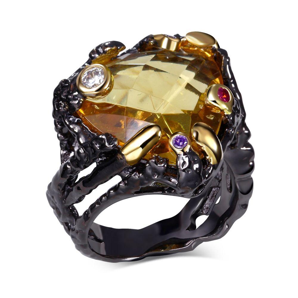 Новое черное кольцо с AAA камень cz уникальный дизайн кольца для девочек модные украшения Бесплатная пересылка полный размер