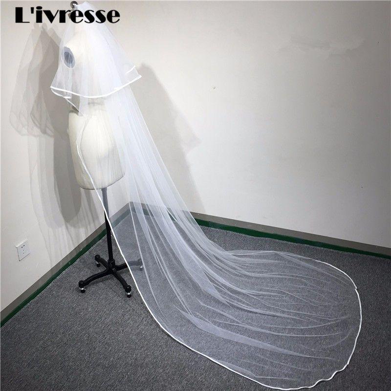 3 M Long Tulle Cathedral Bridal Wedding Veil Comb Two Layer Ribbon Edge Wedding Accessories Velos De Novia Veu De Noiva Longo