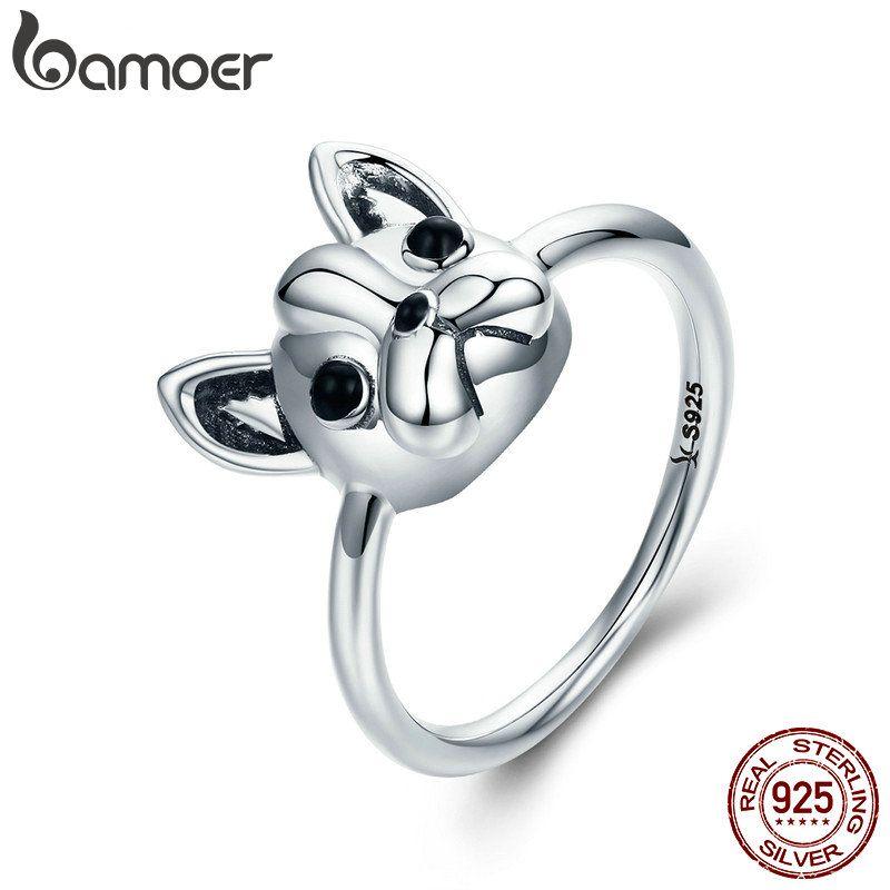 BAMOER Heißer Verkauf 100% 925 Sterling Silber Loyal Partner Französisch Bulldog Hund Tier Weiblichen Ring für Frauen Mode Schmuck SCR261