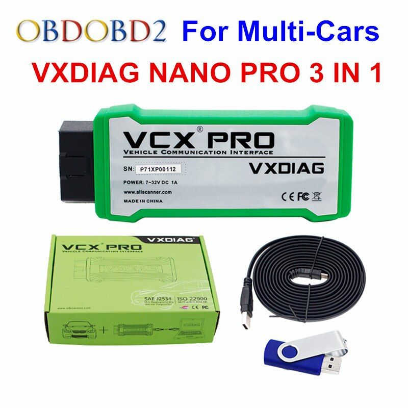 Original VXDIAG NANO Pro 3 IN 1 For GM/VW/Ford/Mazda/Toyota/Volvo/JLR/HONDA VCX 3In1 Update Online Multi-Languages Free Ship