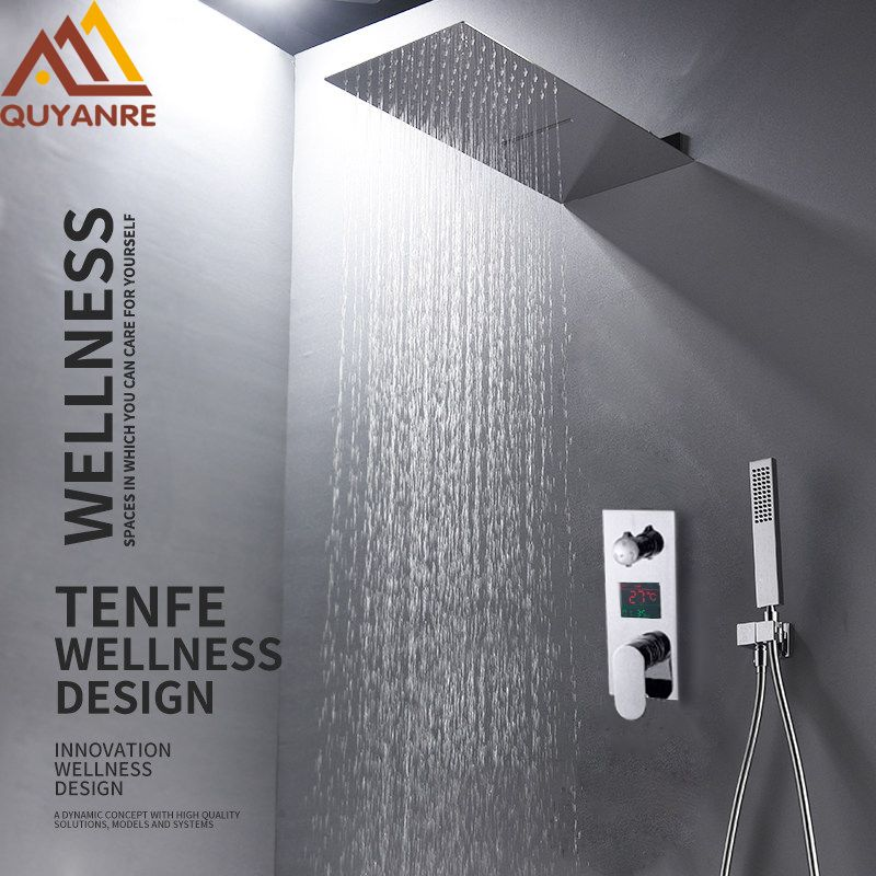 Quyanre 3 Functions Digital Display Shower Faucets Set Chrome Ultrathin Rain Waterfall Shower Head Digital Mixer Tap Bath Shower
