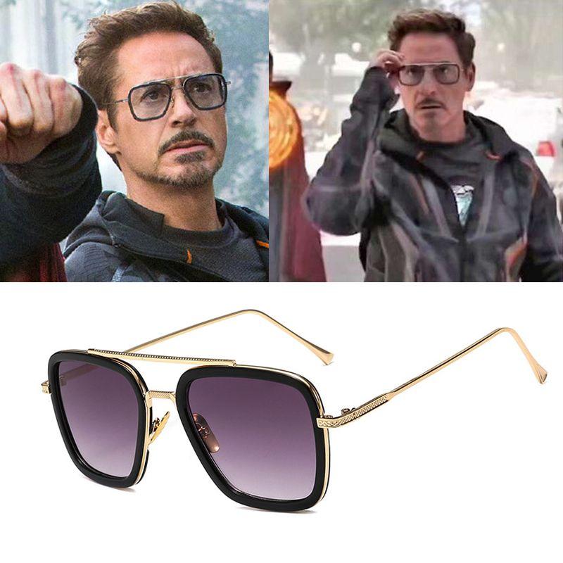 RTBOFY Vintage Steampunk hommes lunettes de soleil marque DesignerTony Stark fer homme lunettes rétro coupe-vent vapeur Punk lunettes de soleil UV400