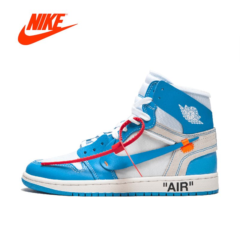 Original New Arrival Authentic NIKE Air Jordan 1 X Off-White Men's Basketball Shoes Sport Sneakers AJ1 Good Quality AQ0818-148
