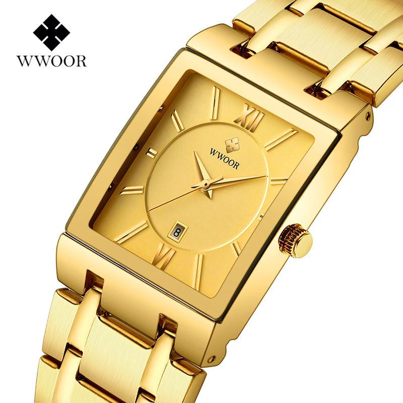 WWOOR luxe top marque montre hommes Rectangle montres véritable acier inoxydable montres dorées mode affaires montres à Quartz