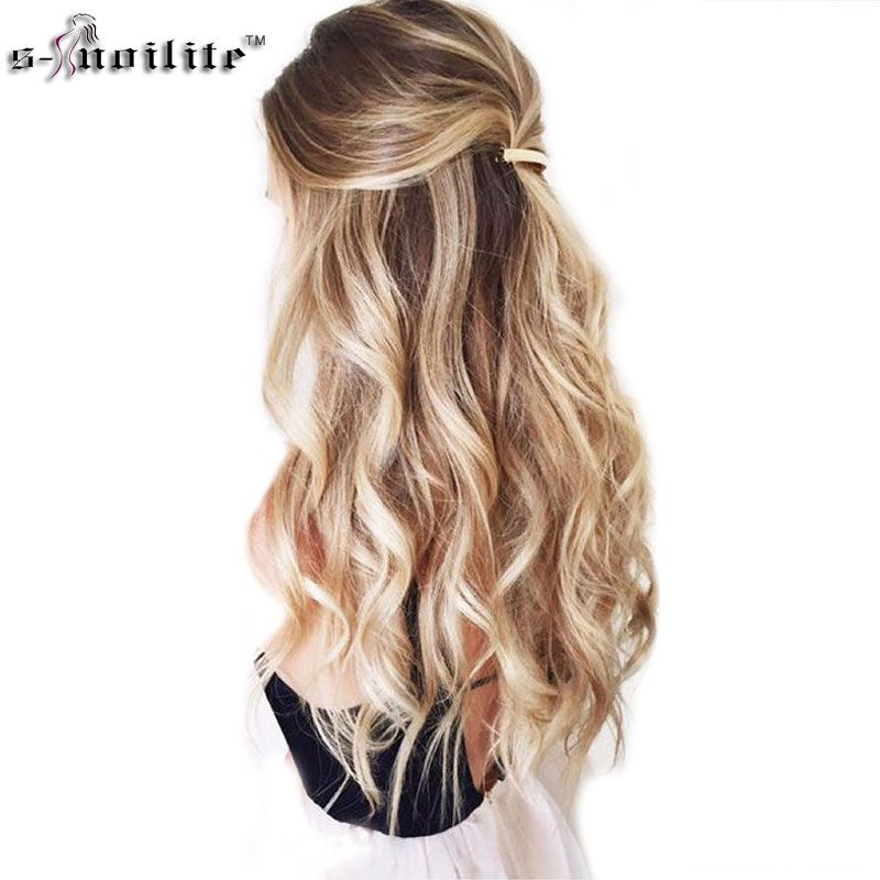 SNOILITE 24inch 8pcs/set Straight 18 Clips in False Hair Styling Synthetic Hair Extensions Hairpiece Cosplay Extension for Human