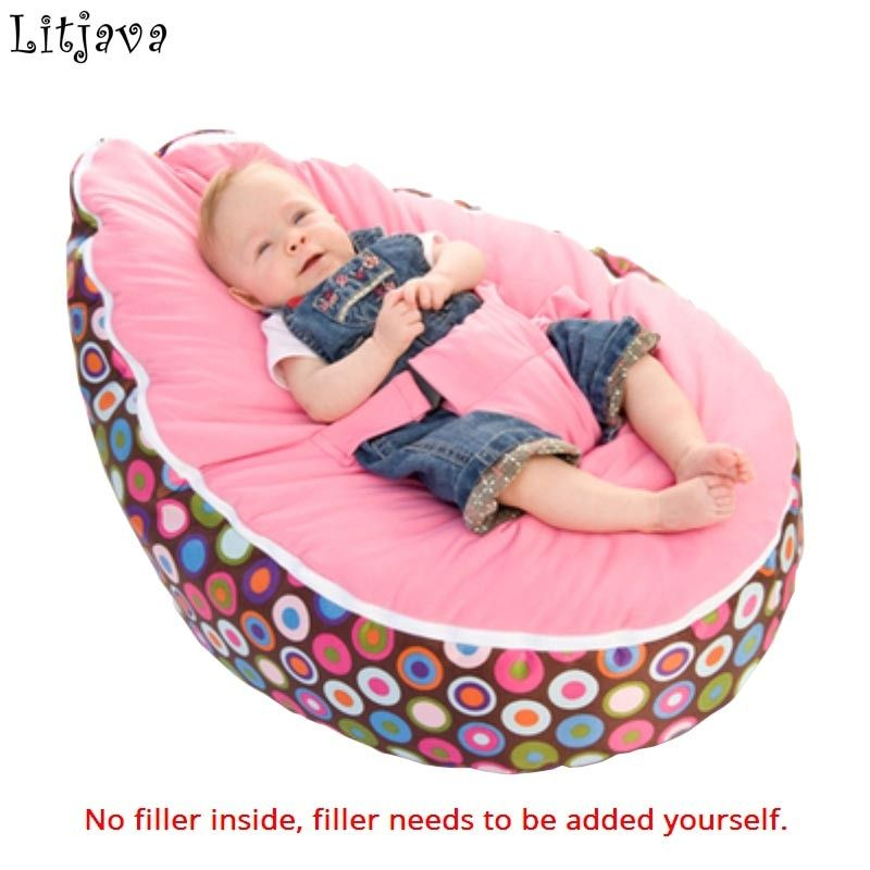 Multicolors Baby Bean bag Portable Baby Chair Folding mama sandalyesi Harness Safety Belt Filler do not included