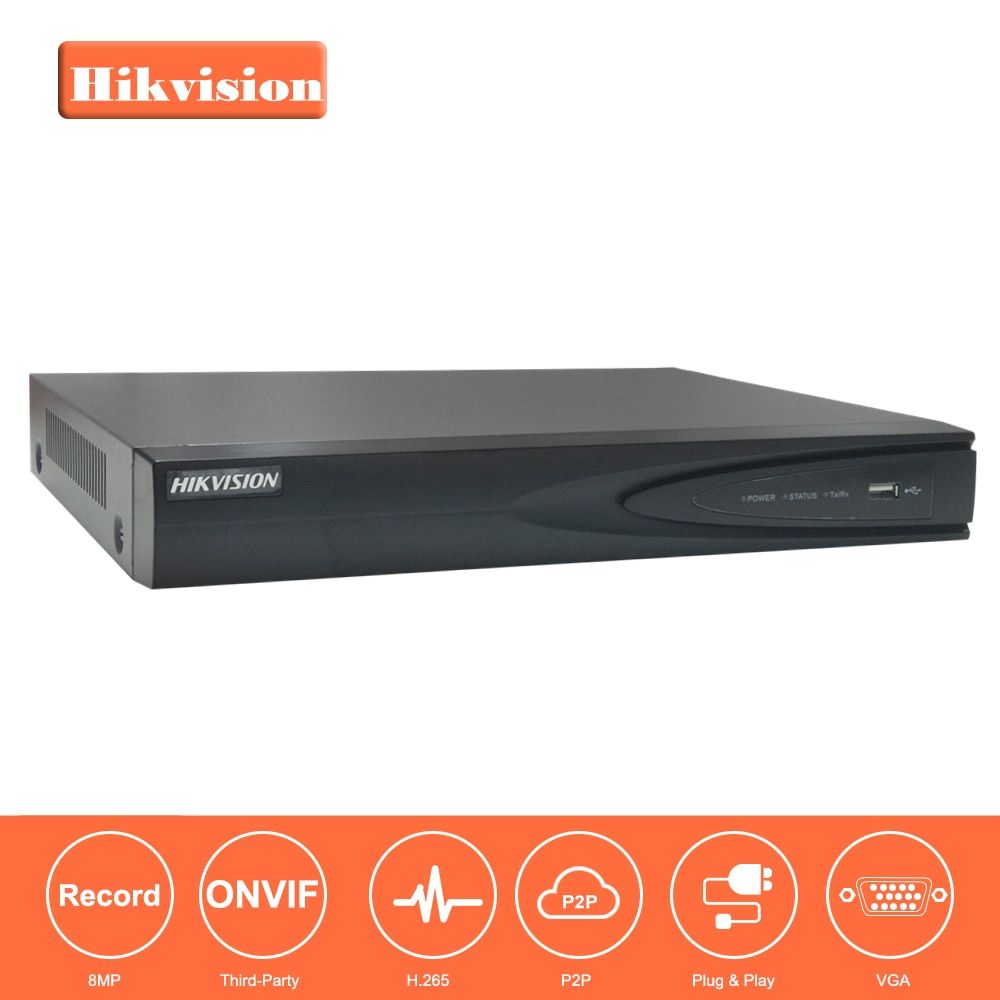 In Stock Hikvision 4CH PoE NVR DS-7604NI-K1/4P (B)4 Channel Embedded Plug Play 4K NVR with 4 PoE Ports for IP Camera CCTV System
