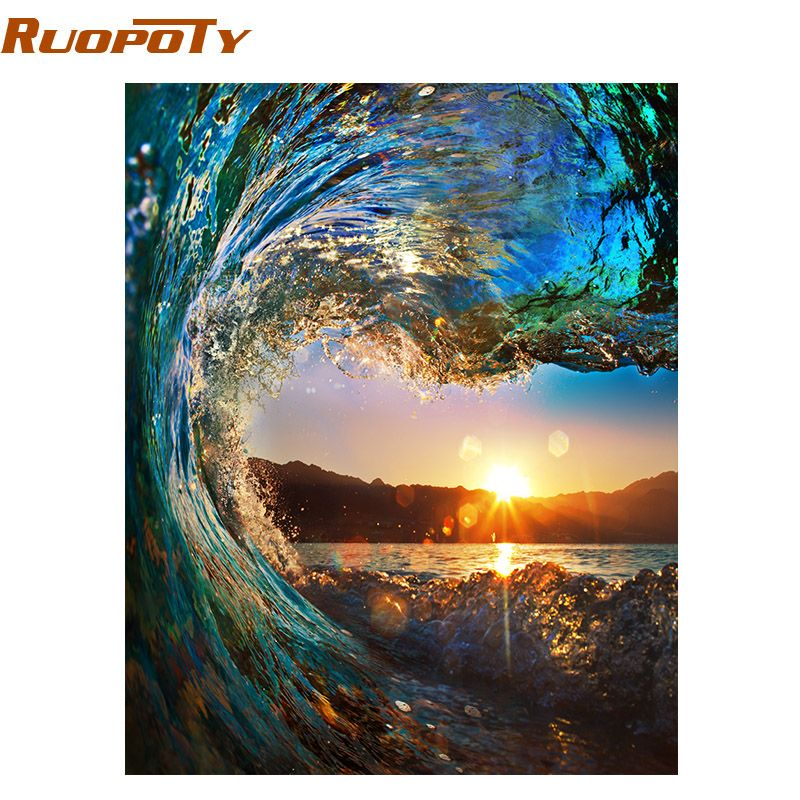 RUOPOTY Frameless Sunset Wave Seascape DIY Painting By Numbers Kits Painting Calligraphy Hand Painted Unique Gift Box Send 40x50