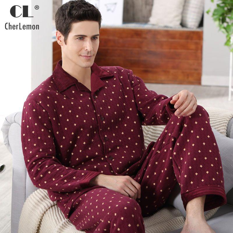 Модные осенние Для мужчин пижамы Домашняя одежда с длинным рукавом теплые зимние пижамы для сна мужской утолщаются хлопка сна Lounge M-4XL Разме...