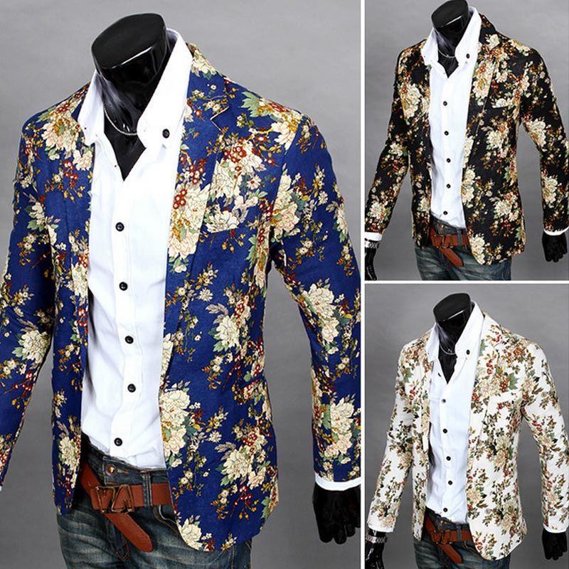 Мода 2017 г. Для мужчин с цветочным принтом Блейзер Тонкий партия Однобортный костюм куртка пальто с длинными рукавами H9