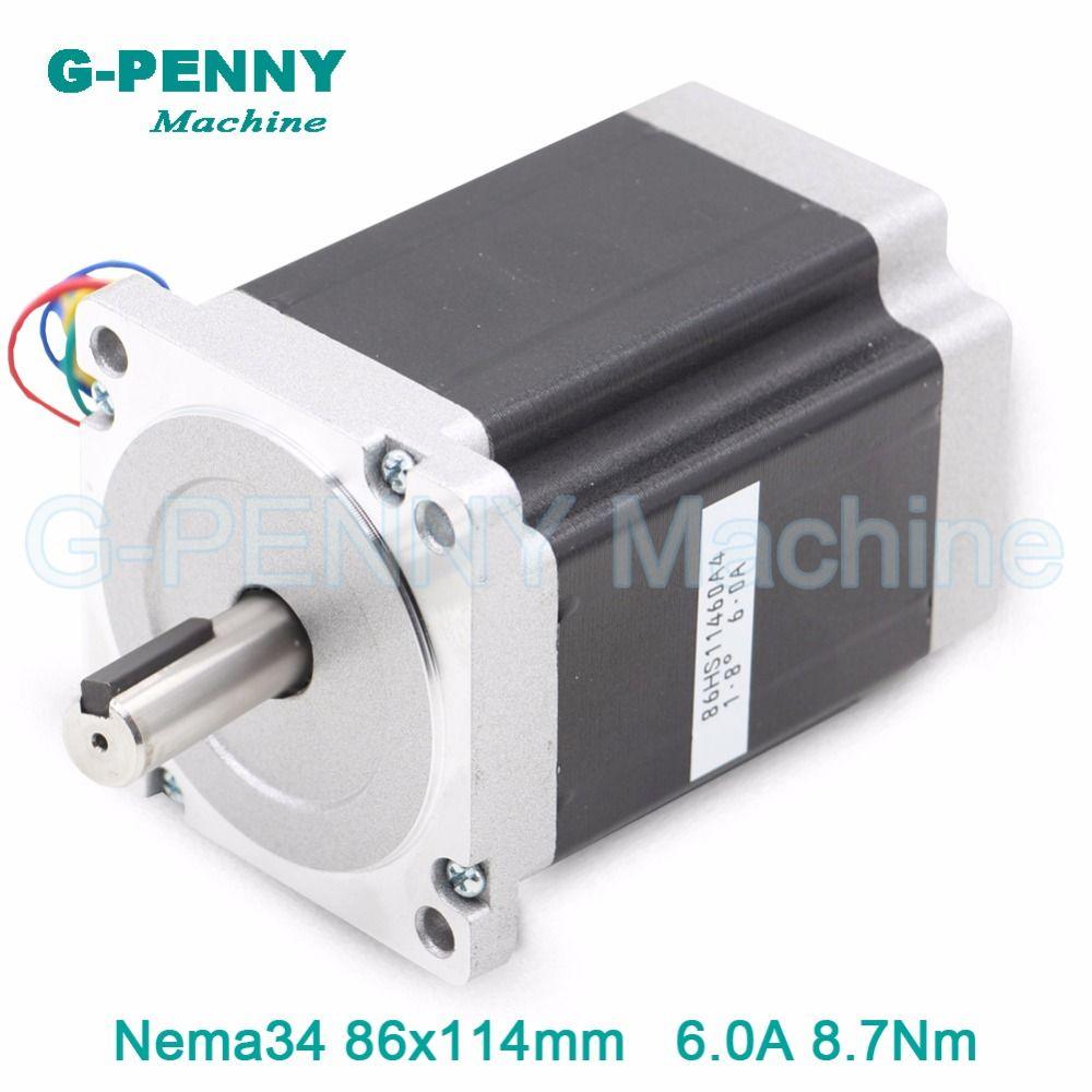CNC NEMA 34 stepper moteur 86X114mm 8.7 N. m 6A arbre 14mm/12.7mm moteur pas à pas 1172Oz-in pour CNC machine de gravure, 3D imprimante!