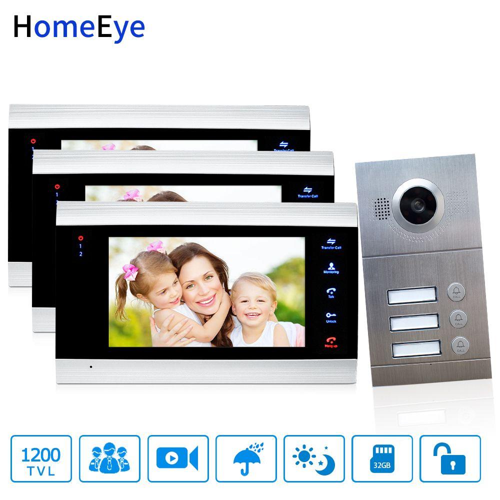 Großhandel 7 zoll Video Tür Telefon Video Intercom Multi-Wohnungen Startseite Access Control System für 3 Separate Familie 1200TVL CMOS