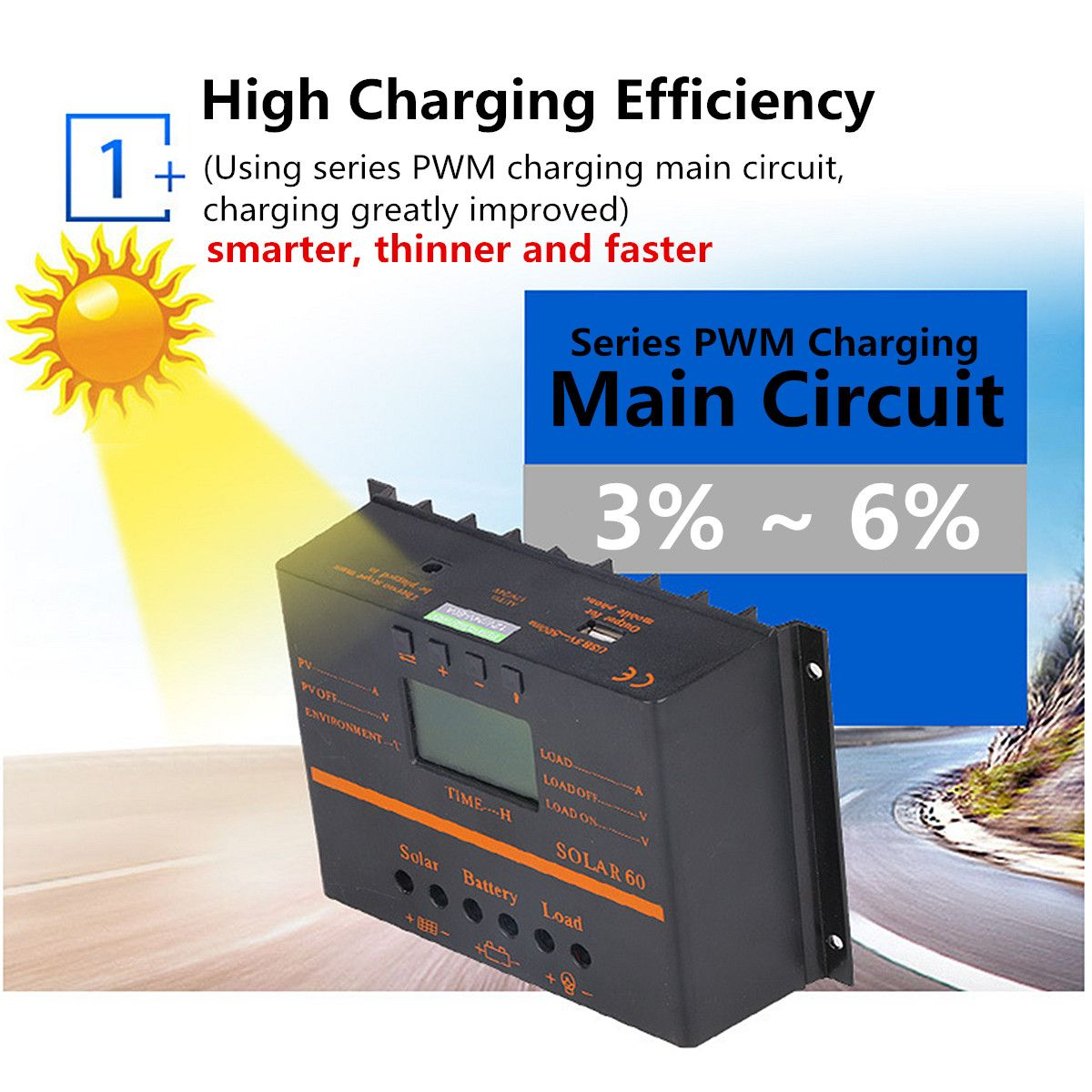 Solar Panel Charge Controller Battery 12V/24V Auto LCD Display PWM Regulator USB 40A/50A/60A/80A Overload Protection Automatic