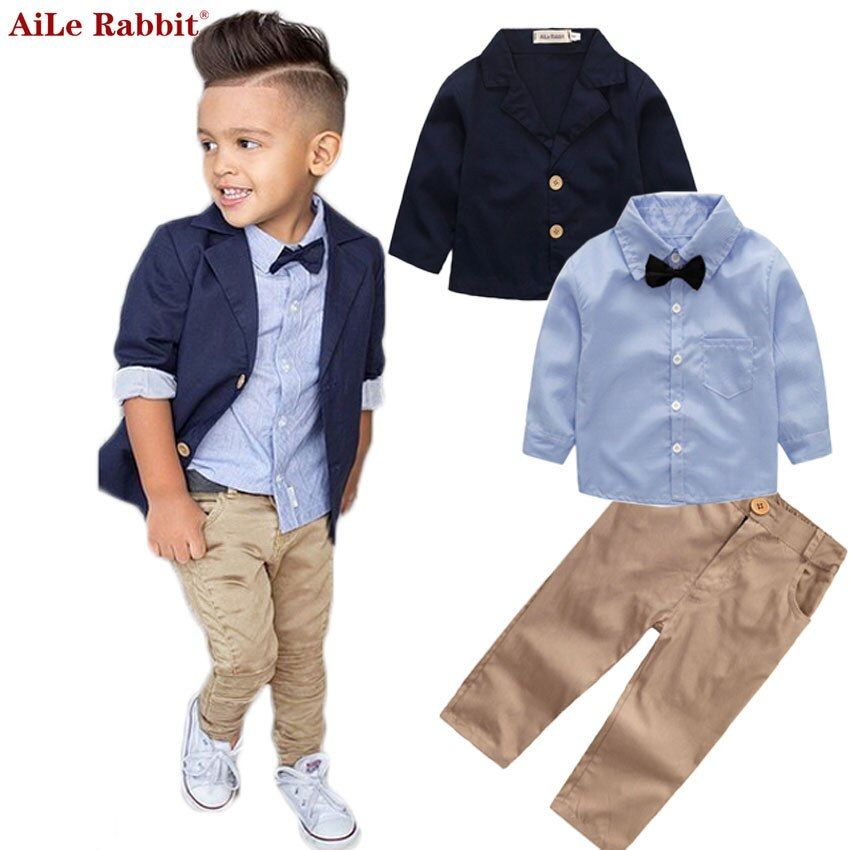 AiLe Rabbit Boys <font><b>Clothing</b></font> Gentleman Sets Jacket Shirt Pants 3pcs/set Kids Bow Children's Suits Coat Tops Stripe Apparel k1