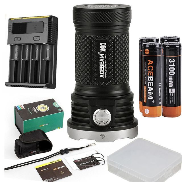 ACEBEAM X80 Handheld Flashlight 12* CREE beam distance with 18650 battery and nitecore I4 charger