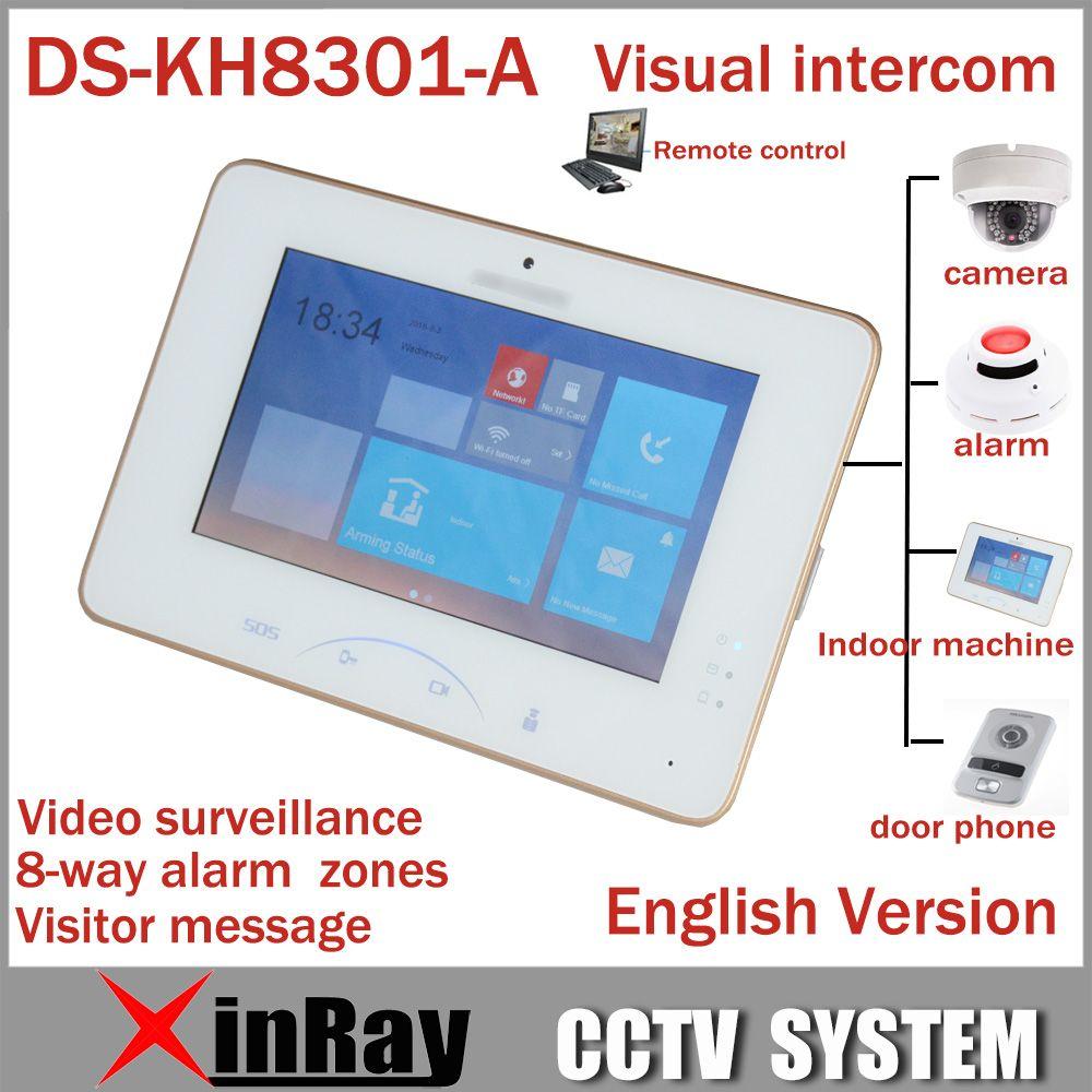 Hik 7''' DS-KH8301-A Pantalla Táctil a Color de Videoportero Con 8 Acceso Vídeo Mornitor SOS de Emergencia Interior Soporte de Cámara IP de Alarma