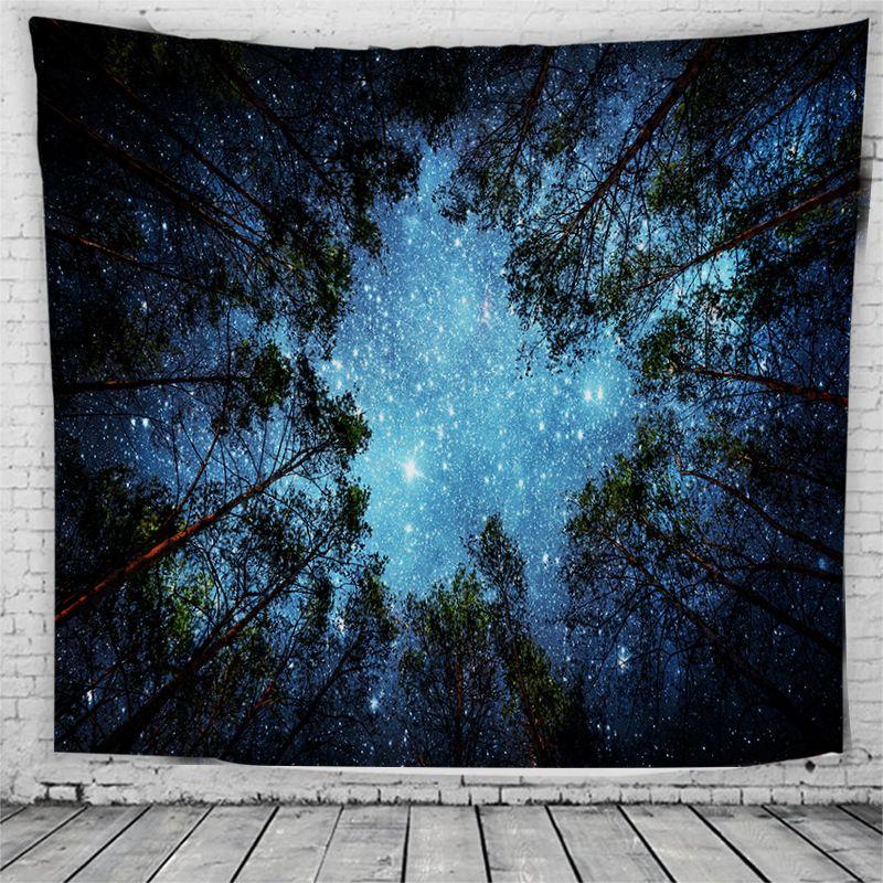 Psychédélique Arbres Forestiers et Étoiles Étoilé Ciel Tissu tenture Tapisserie Décor Polyester Rideaux Plus longue table Couverture