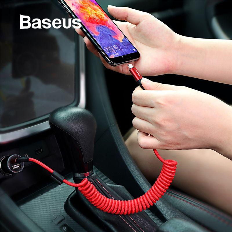 Idée de câble de USB Type C à ressort Baseus pour le stockage de style de voiture câble de charge Flexible 2A USB C pour dispositif xiaomi mi 8 type-c