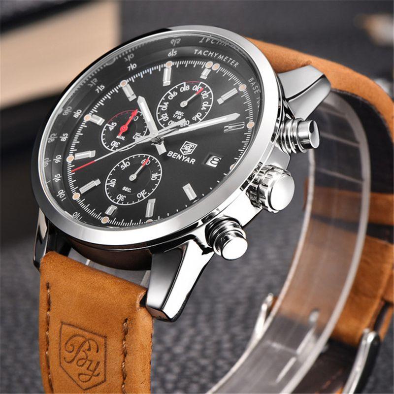 BENYAR Brand Sport Men Watch Top Brand Luxury Male Leather <font><b>Waterproof</b></font> Chronograph Quartz Military Wrist Watch Men Clock saat