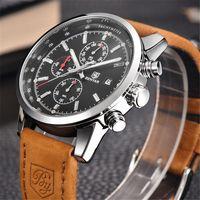 Reloj deportivo Marca BENYAR para hombre, reloj de pulsera militar de cuarzo, cronógrafo de cuero de lujo, marca superior, reloj de pulsera para hombre, reloj saat