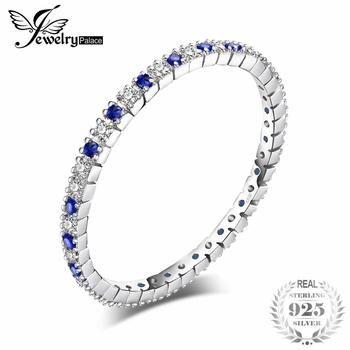 JewelryPalace Requintado Rodada Criado Espinélio Azul Anel de Casamento Banda 100% 925 Esterlina Jóias de Prata Mais Novo Anel Para As Mulheres